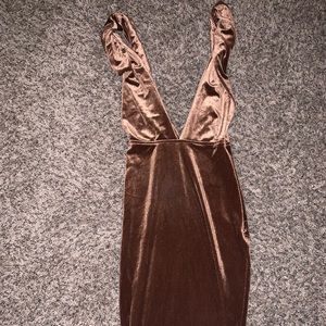 Bronze twisted tank dress